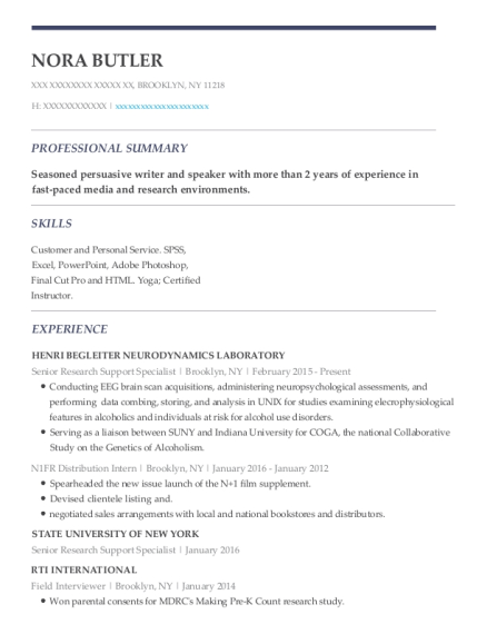 Senior Research Support Specialist resume template New York
