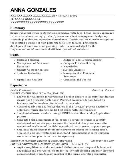 Senior Consultant resume example New York