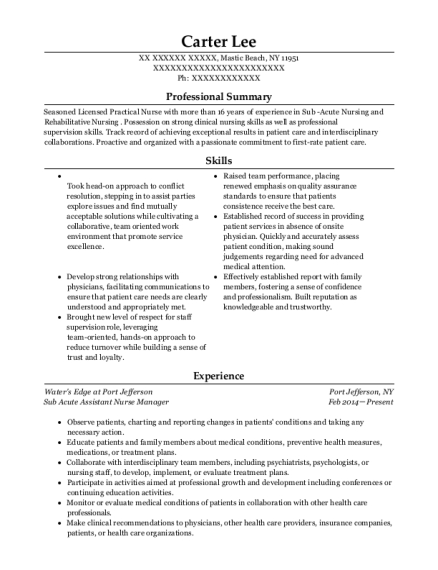 Sub Acute Assistant Nurse Manager resume example New York