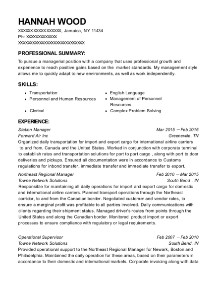 Station Manager resume template New York