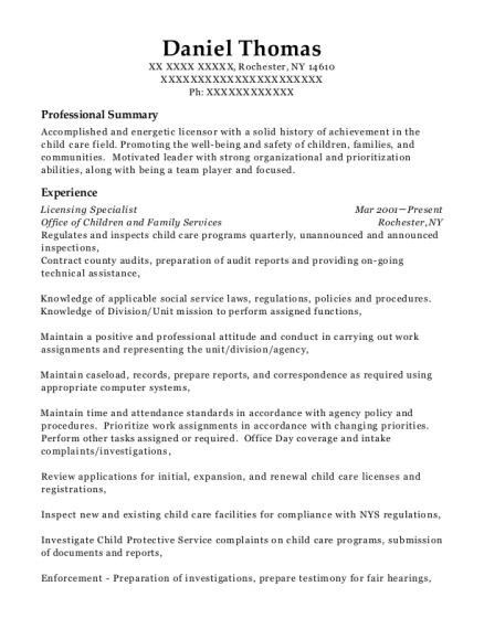 Licensing Specialist resume template New York