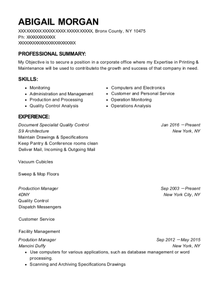 Document Specialist Quality Control resume example New York