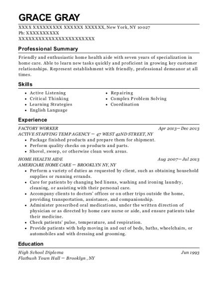 FACTORY WORKER resume format New York