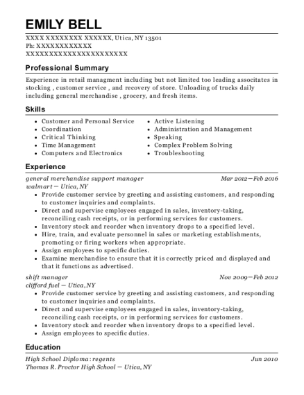 general merchandise support manager resume sample New York