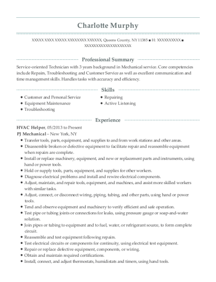 HVAC Helper resume example New York