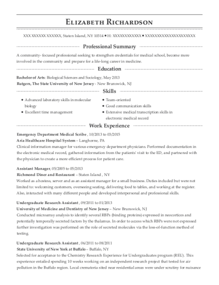 Emergency Department Medical Scribe resume template New York