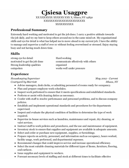 Housekeeping Supervisor resume template New York