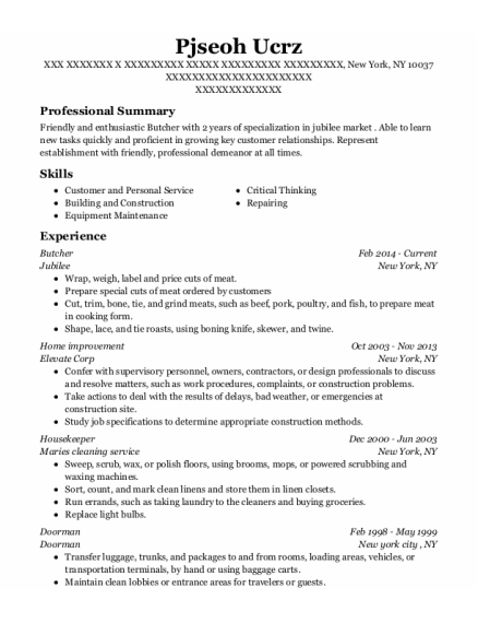Butcher resume example New York
