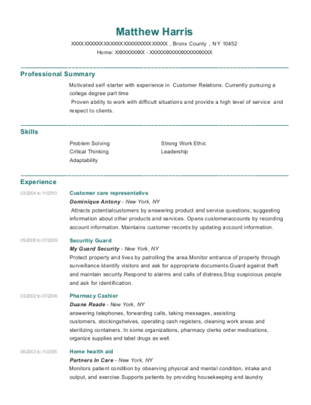 Customer care representative resume sample New York