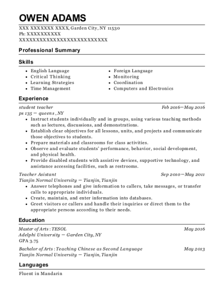 student teacher resume example New York