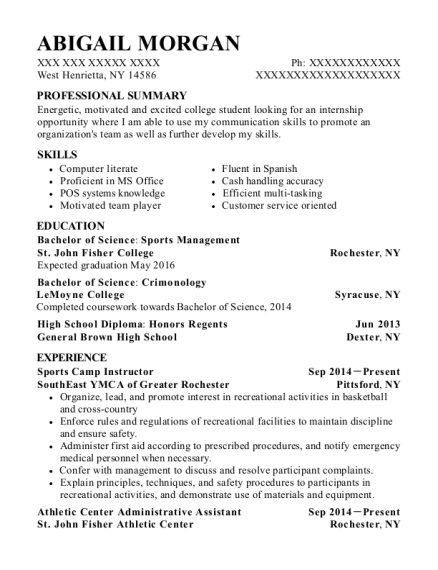 Sports Camp Instructor resume template New York