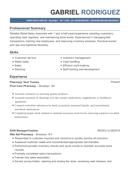 Pharmacy Tech Trainee resume sample New York
