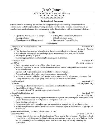 Lead Host resume template New York