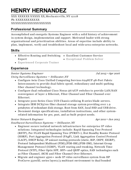Senior Systems Engineer resume example New York