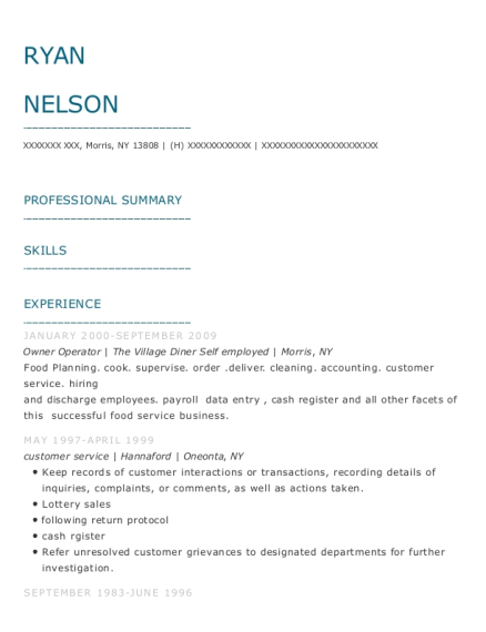 Owner Operator resume format New York