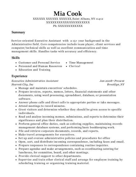 Executive Administrative Assistant resume sample New York