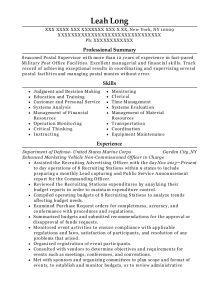 Enhanced Marketing Vehicle Non Commissioned Officer in Charge resume format New York
