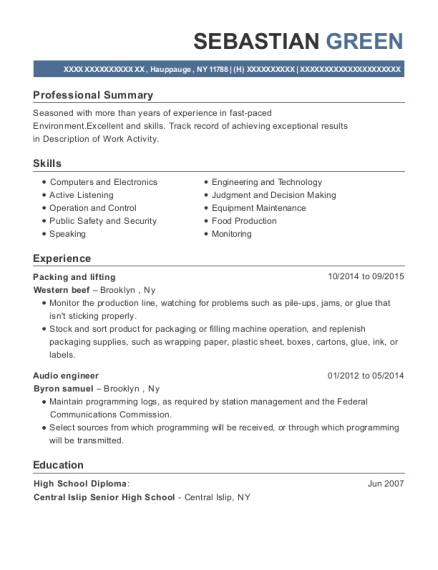 Packing and lifting resume sample New York