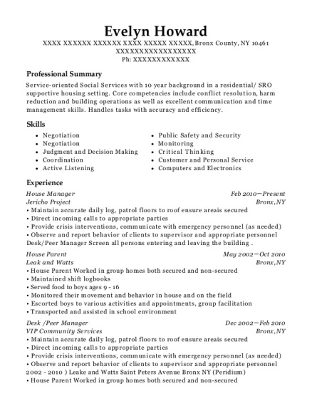 House Manager resume format New York