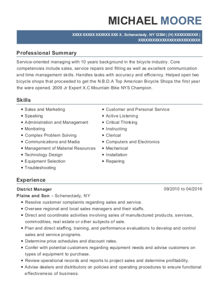 District Manager resume sample New York