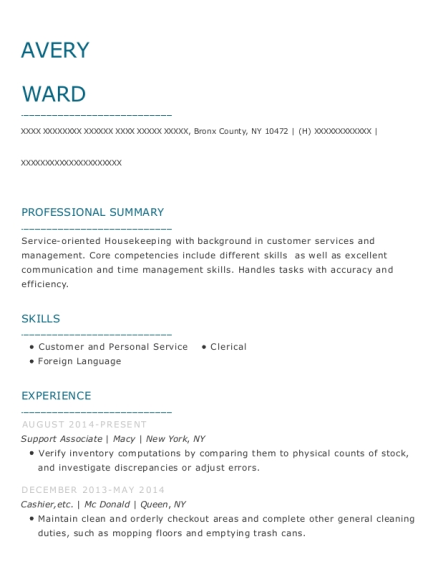 Support Associate resume example New York