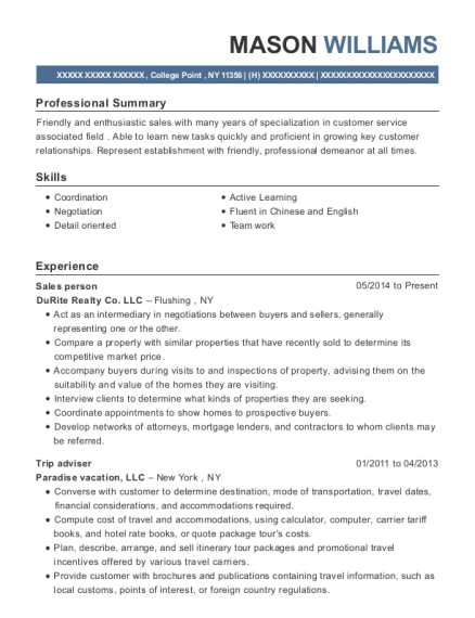 Sales person resume sample New York