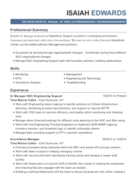 Sr Manager NOC Engineering Support resume format New York