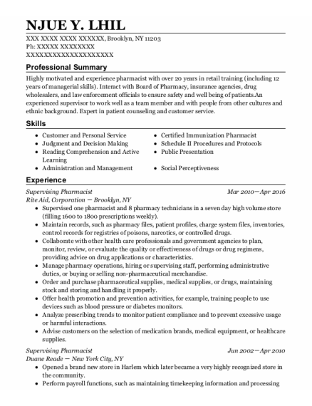 Supervising Pharmacist resume example New York