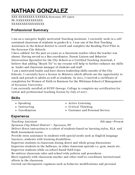 Teaching Assistant resume example New York