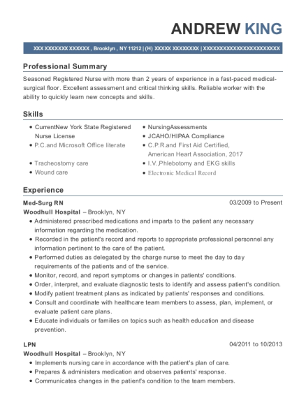Med Surg RN resume template New York