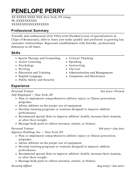 Personal Trainer resume example New York