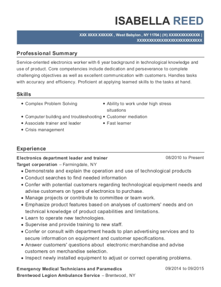 Electronics department leader and trainer resume sample New York