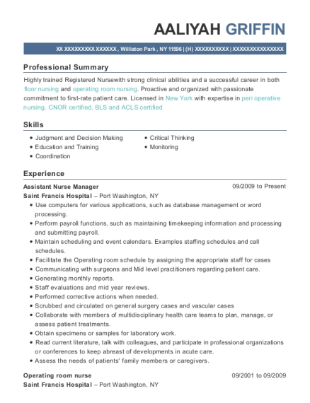 Assistant Nurse Manager resume template New York
