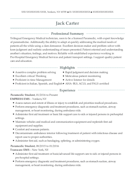 Paramedic Student resume template New York