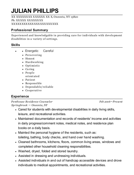 Penthouse Residence Counselor resume template New York