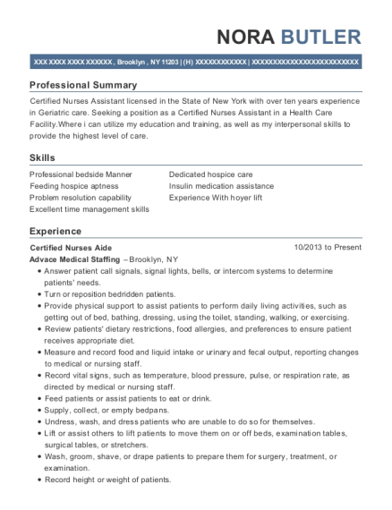 Certified Nurses Aide resume template New York