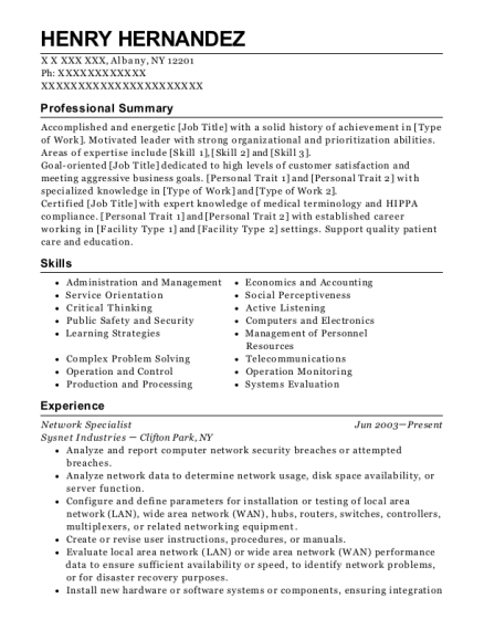 Network Specialist resume format New York