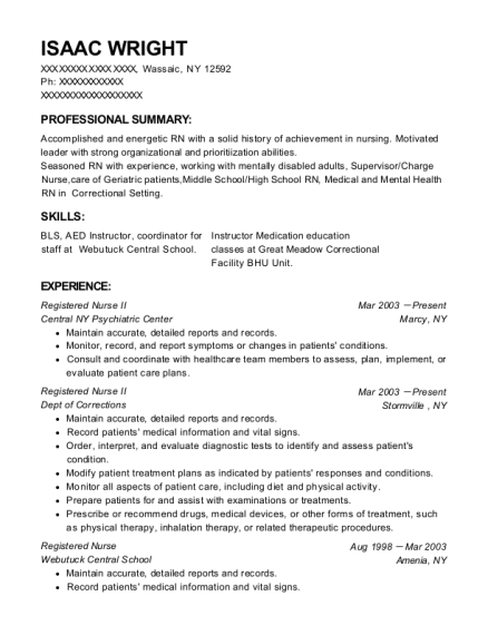 Registered Nurse II resume sample New York