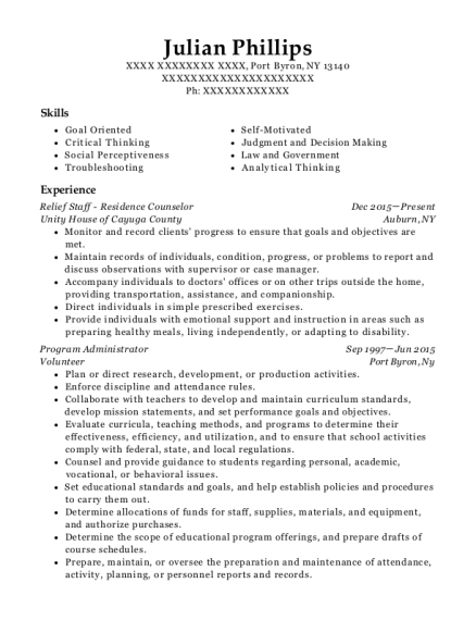 Relief Staff Residence Counselor resume example New York