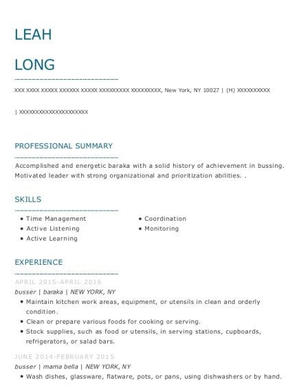 Busser resume format New York