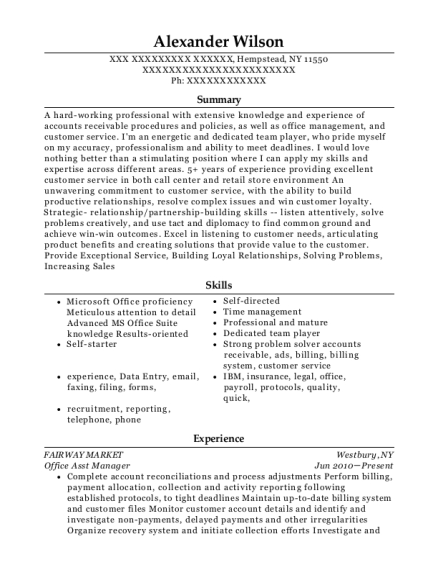 Office Asst Manager resume example New York