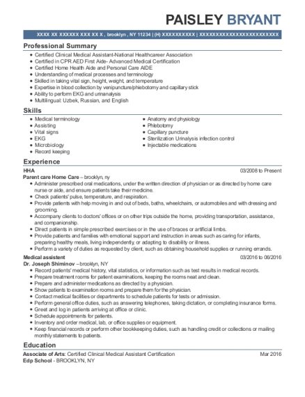 HHA resume example New York