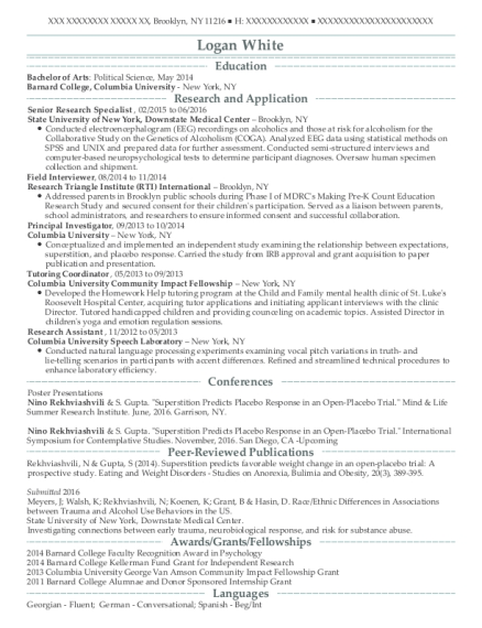 Senior Research Specialist resume template New York