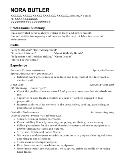 Personal Trainer Assistance resume template New York