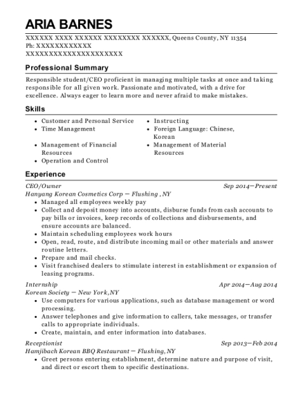 CEO resume example New York