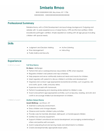 eran haviv full time nanny resume sample