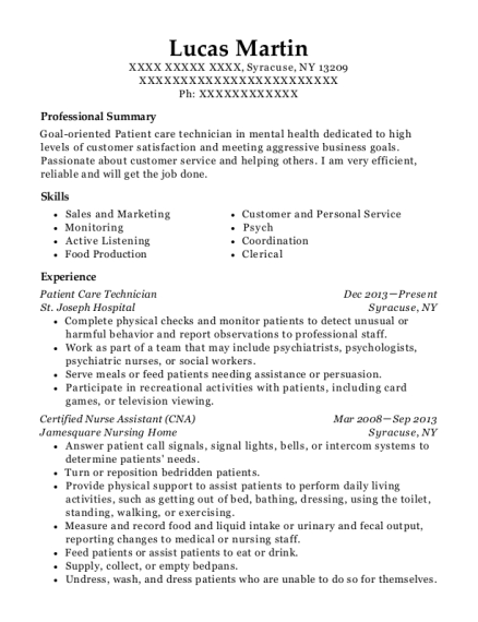 Patient Care Technician resume format New York