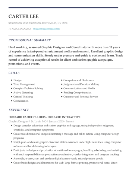 Graphic Designer resume sample New York