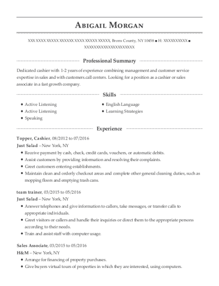Topper resume example New York