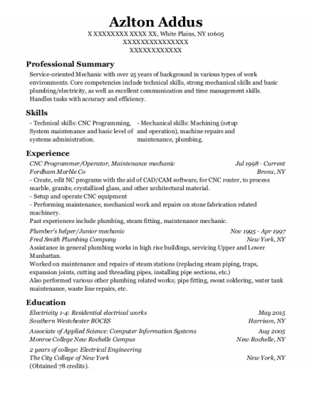 CNC Programmer resume sample New York